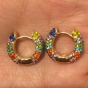 Jackie Multicolored Crystal Huggie Hoops
